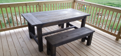 Farmhouse Table and Bench Set