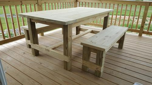 Farmhouse table and benches, unfinished.