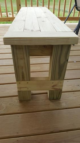 Farmhouse Bench, end view