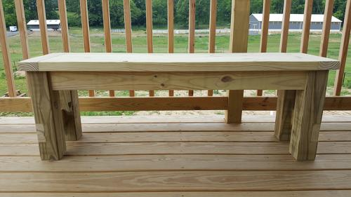 Farmhouse Bench, side view
